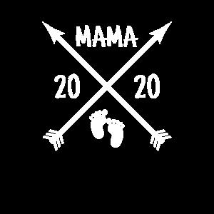 Mama 2020 Baby Babyfüße Retro Vintage Logo Mutter