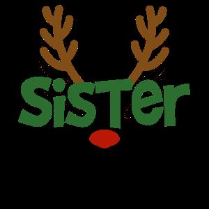Schwester Rentier Familien Outfit Weihnachten Reh