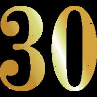 Zahl 30 Nummer Dreißig 30. Geburtstag (Goldgelb)