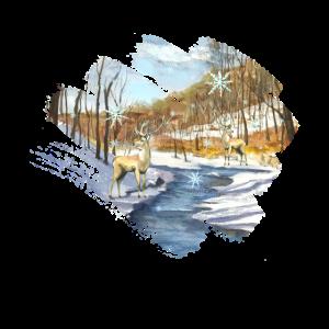 Ein Rentier alleine im Wald mit Schneefall