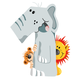 Zahl Eins Elefant mit Löwe und Affe