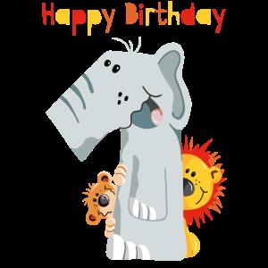 Happy Birthday - Erster Geburtstag - Zahl Eins