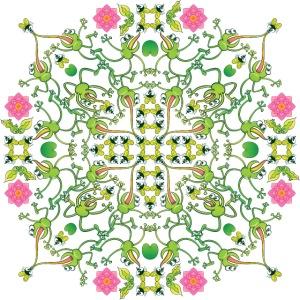 Mandala pattern of fly hunter frogs