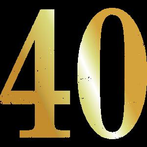Zahl 40 Nummer Vierzig 40. Geburtstag (Goldgelb)