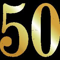 Zahl 50 Nummer Fünfzig 50. Geburtstag (Goldgelb)