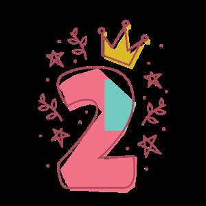 Mädchen 2. Geburtstag Prinzessin mit Krone und 2