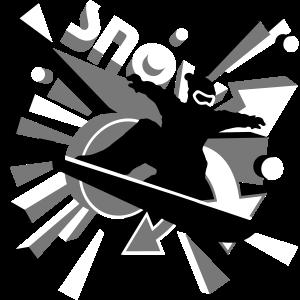 Snowboarder 3D Style mit explosiver Typografie