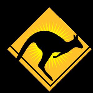 stylisches Verkehrsschild Känguru Australien