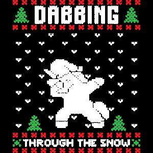 Dabbing Einhorn durch den Schnee Weihnachtmann