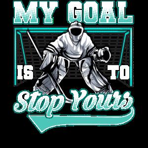 Lustiger Hockey-Verteidiger, der Tore verweigert