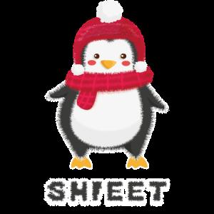 Weihnachts-Penguin mit Mütze und Schal ist kalt
