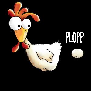 Plopp es ist raus das Ei - Huhn - Hahn - Gockel