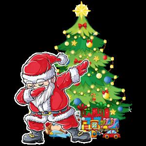 Dabbender Weihnachtsmann around the Christmas tree