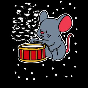 Christmas Maus Trommel Musikant Weihnachten Kinder
