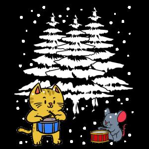 Weihnachten Christmas Tiere Musikanten Xmas Schnee