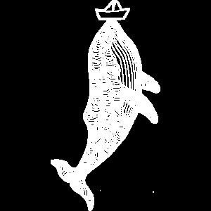 Wal mit Schiff auf der Nase