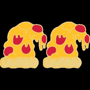 2 pizzen team paar schlapp runter hängen auf dem k