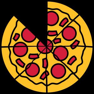 fehlendes aufgeschnitten teile stücke pizza rund g