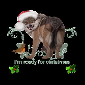 Ich bin bereit für Weihnachten, lustiger Wolf