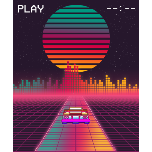 Retro 80er Outrun Synthwave Sunset schnelles Auto