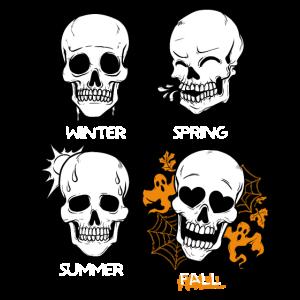 Totenkopf Schädel Jahreszeiten Herbst Halloween