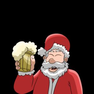 Weihnachtsmann mit Becher Bier