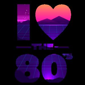 I Love The 80s Liebe Vintage Herz Geschenk