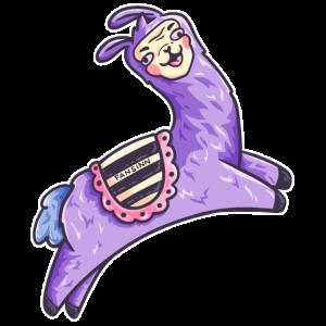 verrücktes lila Lama Kamel springt durch die Luft