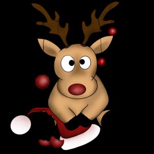 Rentier Weihnachten Christbaumkugeln Nikolausmütze