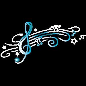 Musik, Notenschlüssel mit Notenblatt. Türkis, weiß