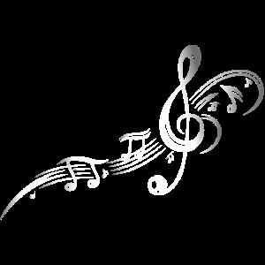 Musik, Notenschlüssel, Notenblatt. Silber Effekt.