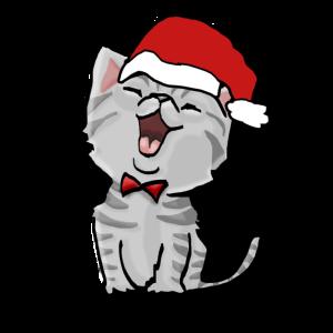süße Weihnachtskatze Kater Christmas Cat Xmas