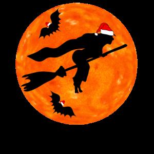 Hexe auf Besen mit Weihnachtsmütze
