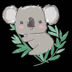 Süßer Koala Bär mit Eukalyptus Blätterzweig