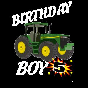5 Jahre alte Geburtstags-Entwurfs-Grün-Traktor