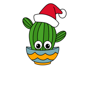 Christmas Cactus - Cactus With A Santa Hat In A