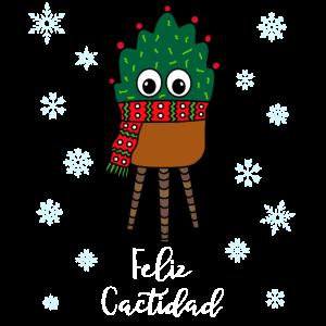 Feliz Cactidad - Christmas Cactus With Scarf