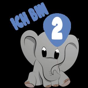 Ich bin 2 Zweiter Geburtstag Babyfant Elefant