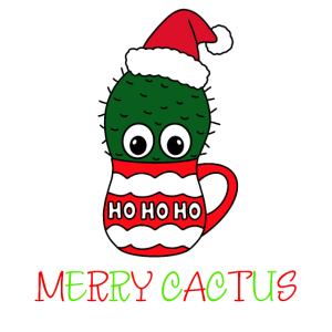 Merry Cactus - Cactus With A Santa Hat In A
