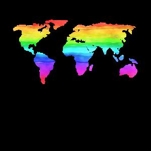 Weltkarte Bunt Regenbogenfarben Farbig