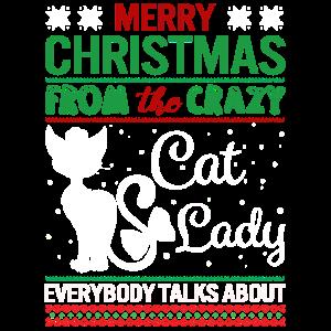 Lustige verrückte Katzen-Dame Christmas Ugly