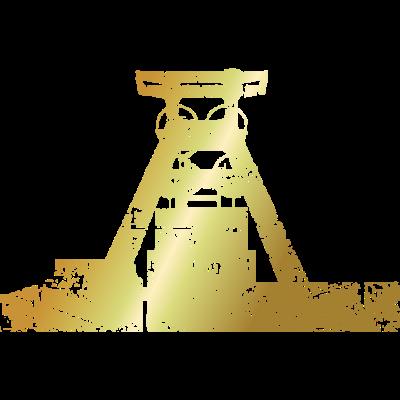 Zeche Zollverein Antik Gold - Nostalgie aus dem Pott: Die Silhouette der Zeche Zollverein in Essen. Ein Design für Leute aus dem Ruhrgebiet und für Kumpel, Bergmänner und Bergleute aus den Zechen an Rhein und Ruhr. - zechen,zeche zollverein,unter tage,schachtanlage,ruhrpott,ruhrgebiet,kumpel,kohlenpott,kohlebergwerk,kohle,geschenke,geschenk,förderturm,essen,dortmund,bergwerk,bergmänner,bergmann,bergleute,Revier,Pütt,Pott,Gelsenkirchen,Bottrop,Bochum