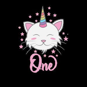 Ich bin 1 Geburtstag Einhorn Katze Regenbogen