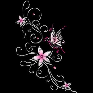 Filigrane Ranke mit Schmetterling und Blumen