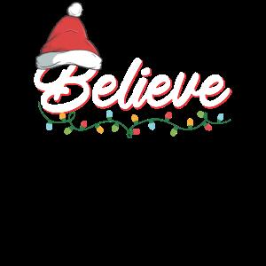 Believe I Weihnachten Santa Mütze Lichterkette
