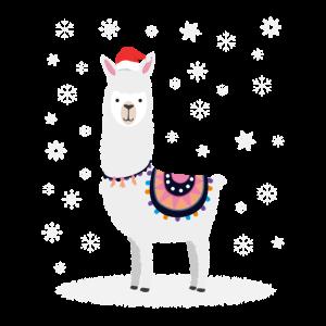 Weihnacht Alpaka Lama im Schnee