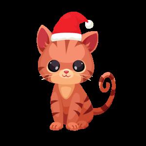Süsse Baby Katze mit Weihnachtsmütze