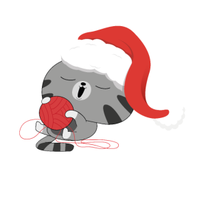 Katze mit Weihnachtsmütze Kitty Christmas
