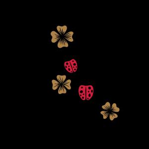 Ranke mit Kleeblättern und Marienkäfern. Silvester