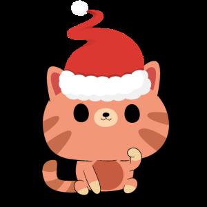 Katze mit Weihnachtsmütze Geschenk